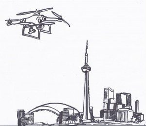 Illustration of drone flying over Toronto skyline