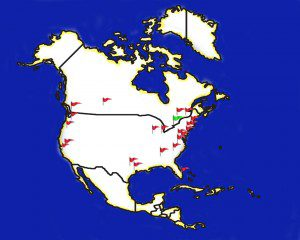 North America map marked with flags
