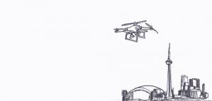 Illustration f drone flies over Toronto skyline