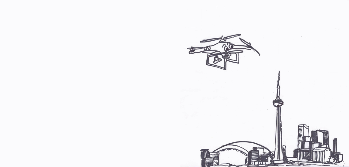 Illustration f drone flies over Toronto skyline