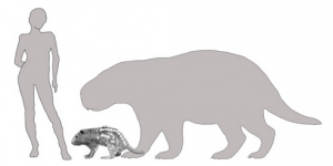Outline of woman next to small animal and larger outline of animal