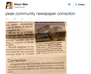 Alison Mah tweets about newspaper article closeup on correction about Rupert Carnival