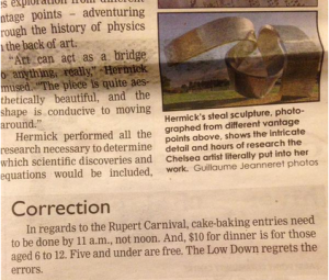 Newspaper article closeup on correction about Rupert Carnival