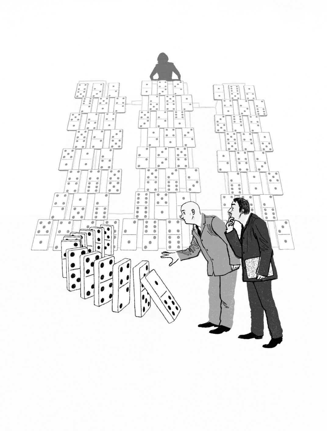 Illustration of man knocking over dominos set up