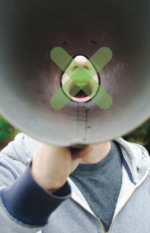 Mouth through megaphone with green x on the mouth