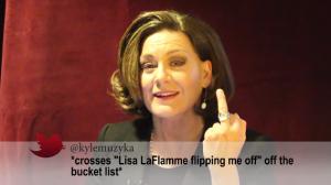 "Kyle Muzyka tweets *crosses ""Lisa LaFlamme flipping me off"" off the bucket list* with photo"