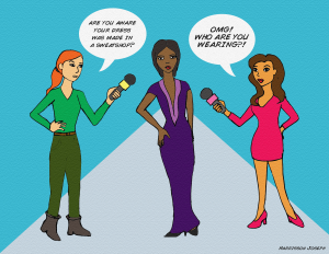 Illustration of two reporters questioning woman in dress