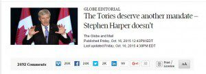 Globe and Mail editorial endorsement headline
