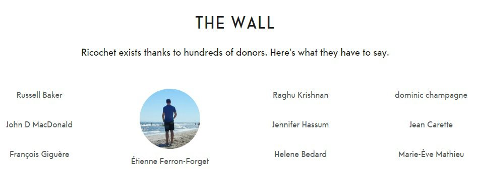 """The Wall"" on the Ricochet website, where donors can leave their name and a message about their contribution."