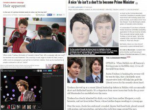 A collage of articles about Justin Trudeau's hair
