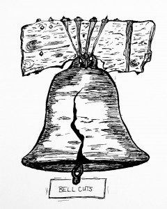"""Illustration of cracked bell with words """"Bell cuts"""""""