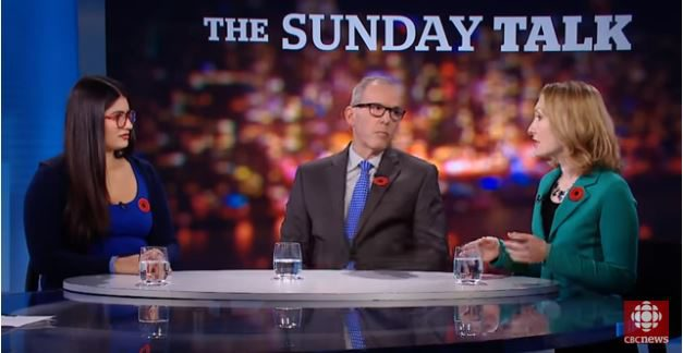 An image of Scaachi Koul and Jonathan Kay on CBC's the Sunday Talk