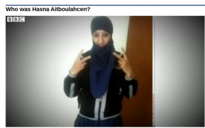 A screenshot of a BBC video republished by Yahoo Canada mistakenly depicting the woman pictured as Hasna Aitboulahcen