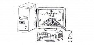 An illustration showing a computer with the Washington Post's logo on the screen