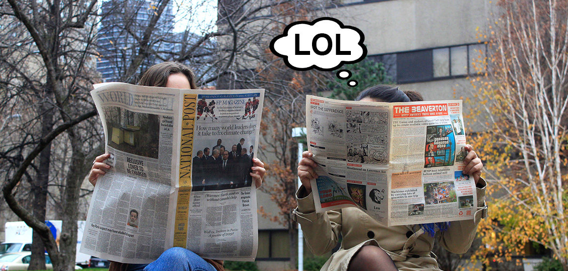 "Women reading newspapers bubble from one woman says ""LOL"""