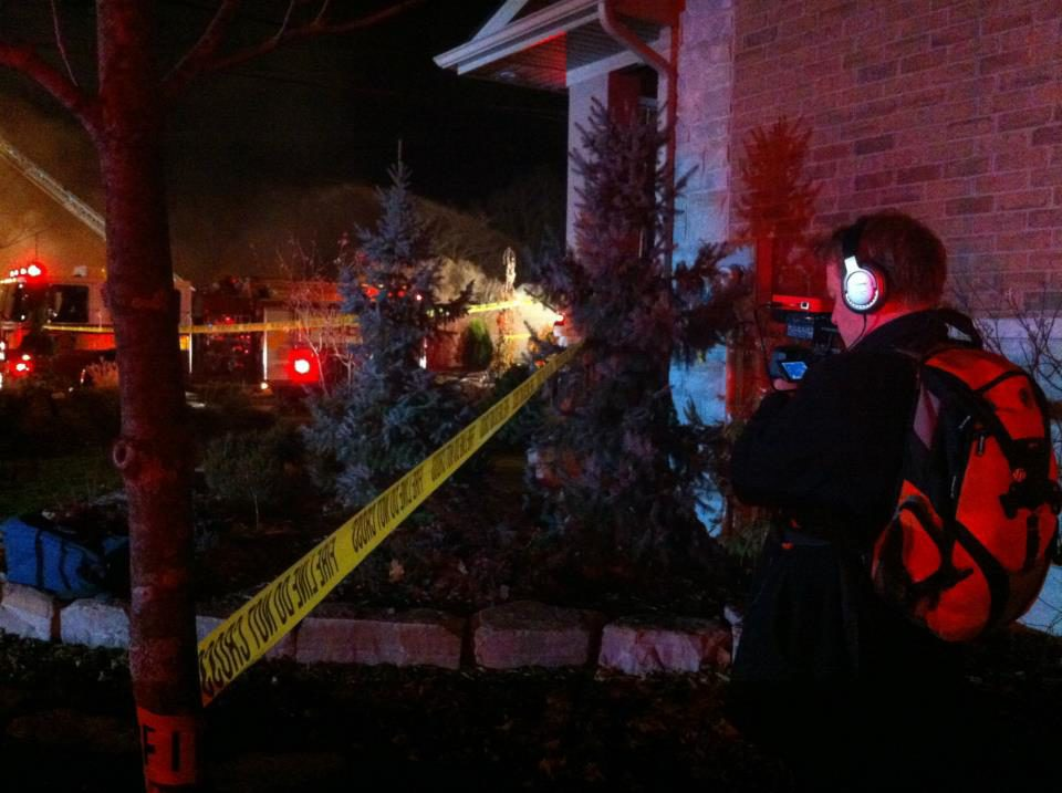 Coleman takes live footage at a fire scene