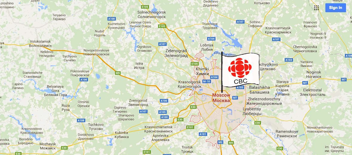 CBC flag on map in Moscow