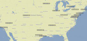 Unites States map with city names