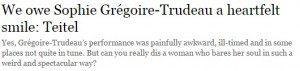 "Headline ""We owe Sophie Gregoire-Trudeau a heartfelt smile: Teitel"""