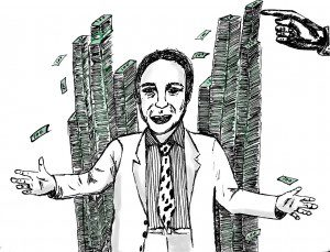 Illustration of man with stacks of money