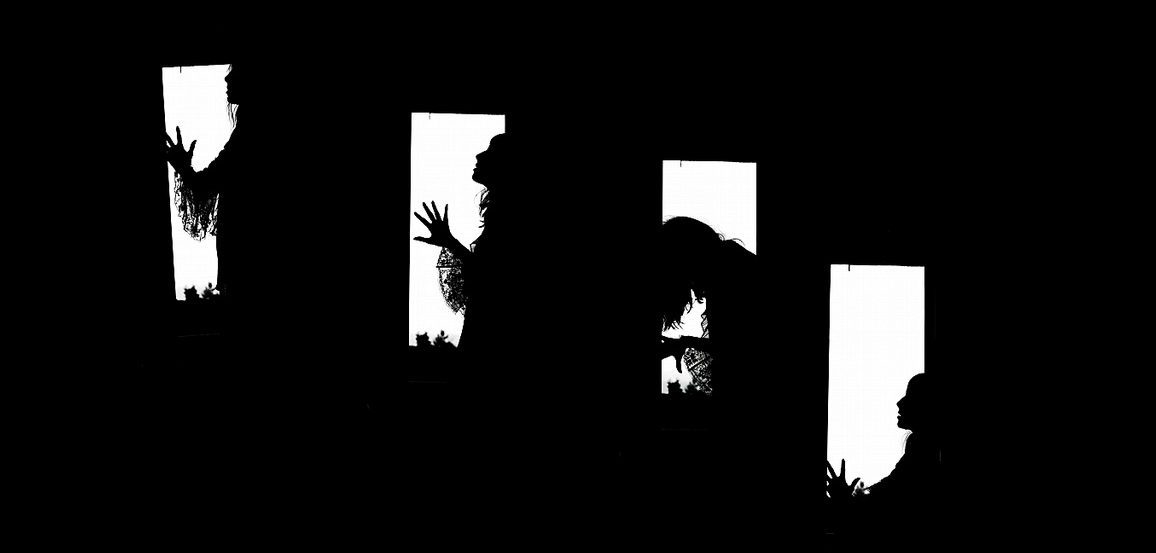 4 silhouettes of a woman in despair