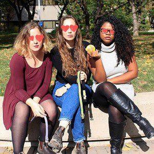 3 women with heart eye illustrations