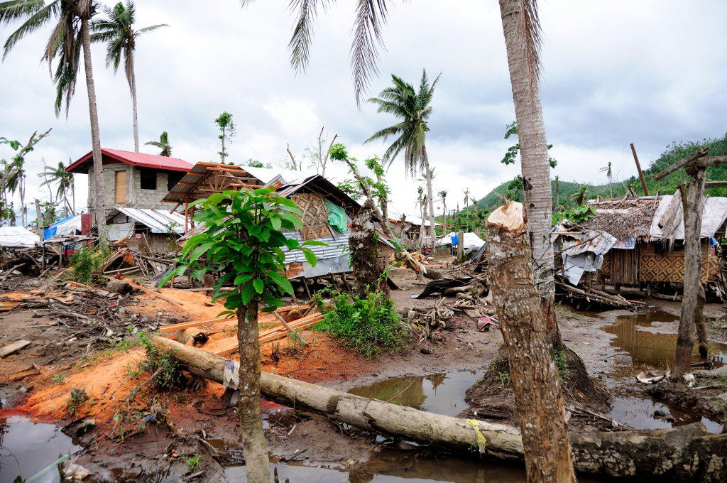 The small Filipino village of San Miguelay after Typhoon Haiyan—known locally as Yolanda—destroyed the islands in November 2013. The storm surge was as high as 25 feet in some areas, and wind reached speeds of more than 230 km/h