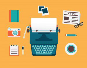 Illustration of typewriter, newspaper, pencil, glasses, coffee, pen and notepad, camera, notebook and Polaroid images