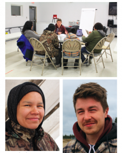 Top photo of people around a circular table, lower two photos of a man and a woman smiling at the camera