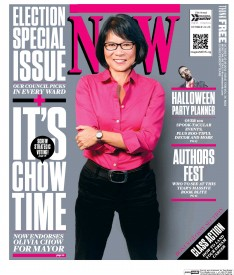 Cover for Now depicting politician Olivia Show in a bright pink shirt and black pants.