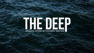 """The Deep logo is presented against a water background, accompanied by their slogan """"Atlantic Stories by Atlantic Writers."""""""