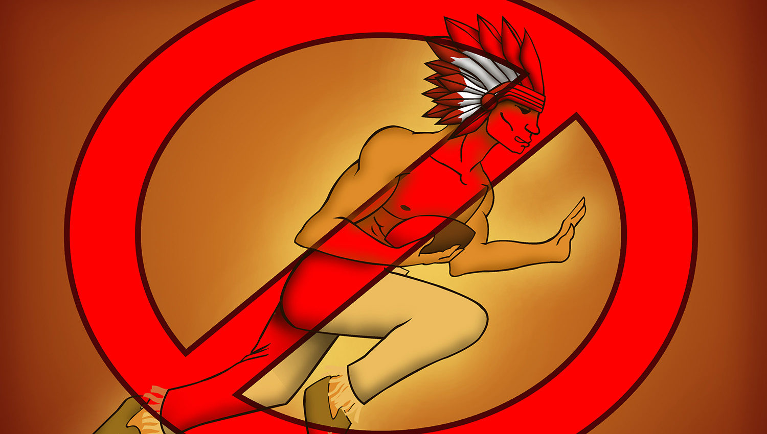 """Illustration of a stereotypical """"Indian Chief"""" holding a football with a red cross over top"""