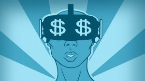 An illustration of an androgynous figure wearing a virtual reality headset with two dollar signs on the visor.