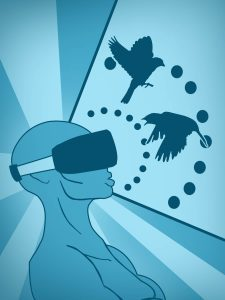 An illustration of an androgynous figure wearing a virtual reality headset watching birds flying.