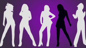 Illustrated silhouettes of 5 women posing on purple background