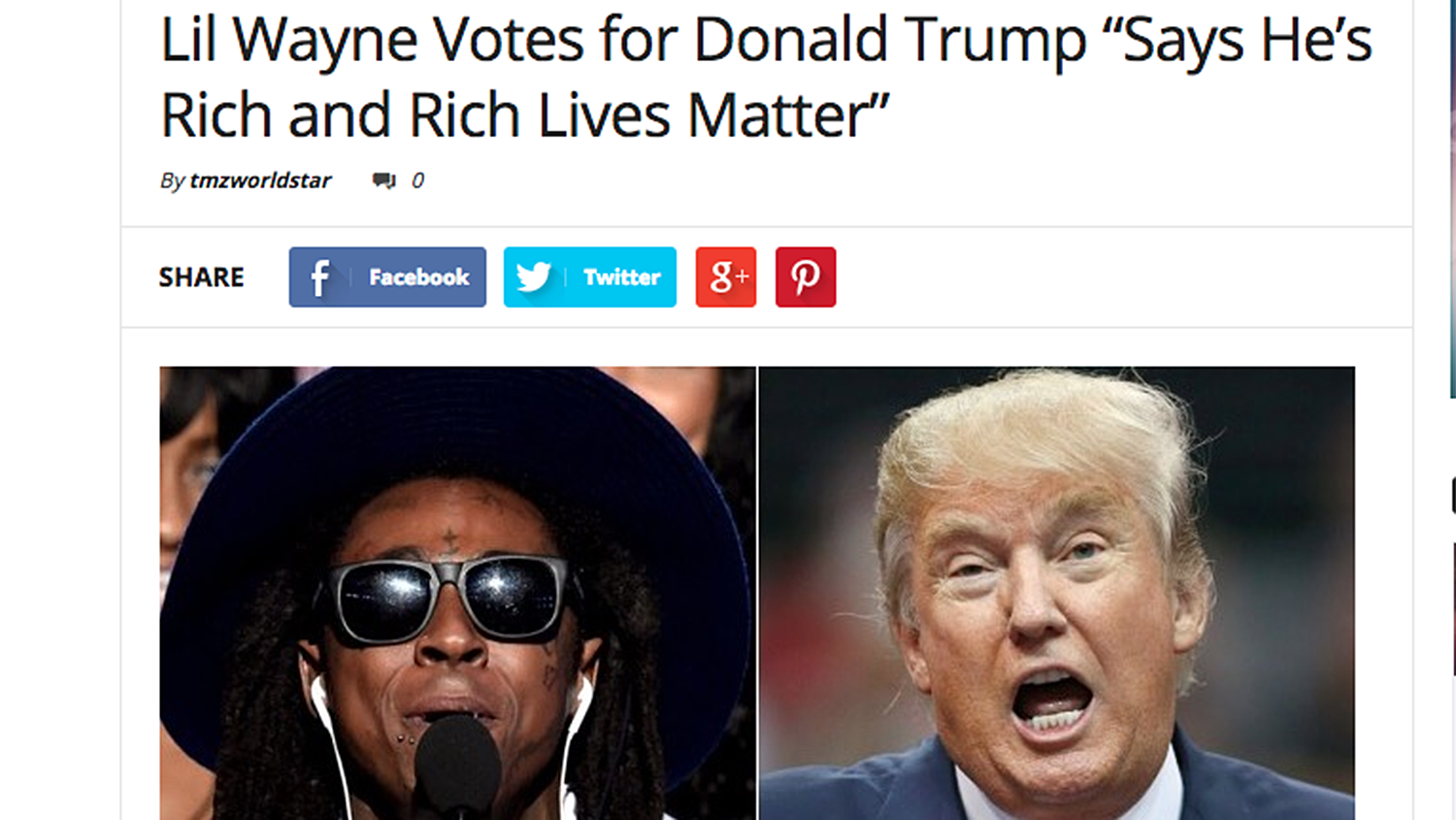 """Lil Wayne Votes for Donald Trump Says He's Rich and Rich Lives Matter."" A photo of Lil Wayne and Donald Trump."
