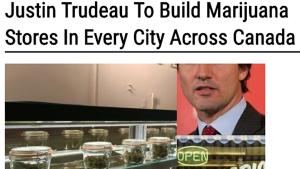 "Headline: ""Justin Trudeau To Build Marijuana Stores In Every City Across Canada"
