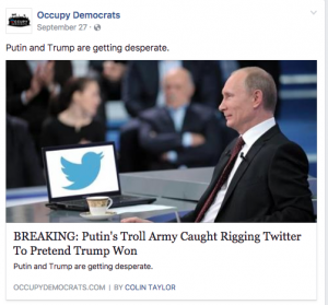 A screen shot of a fake Facebook news article.
