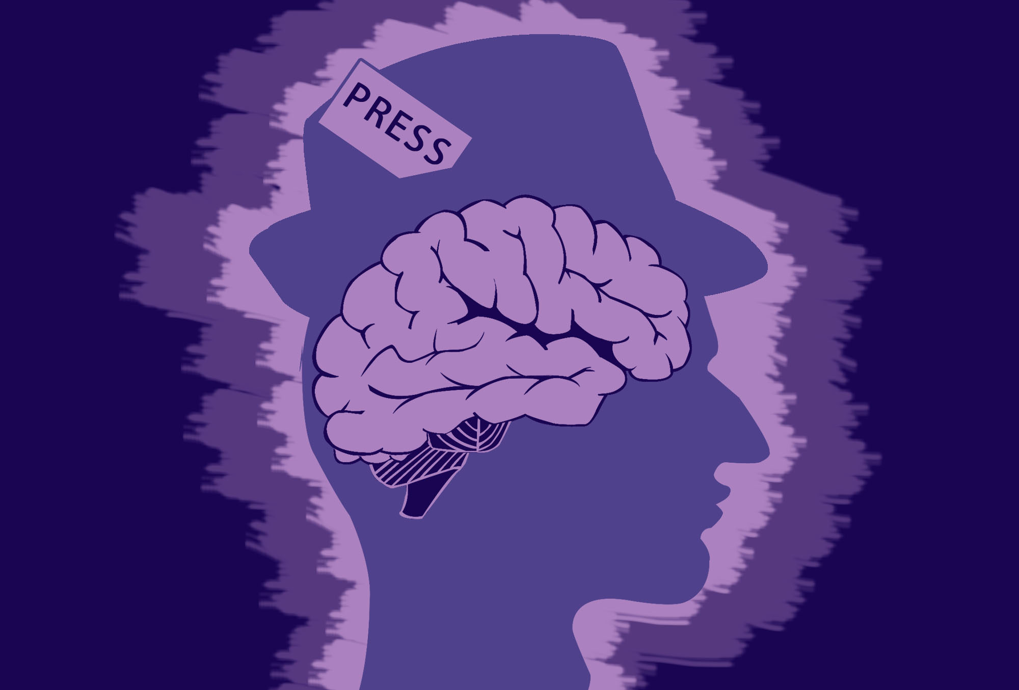 Illustration of a brain in the outline of a head wearing a press hat