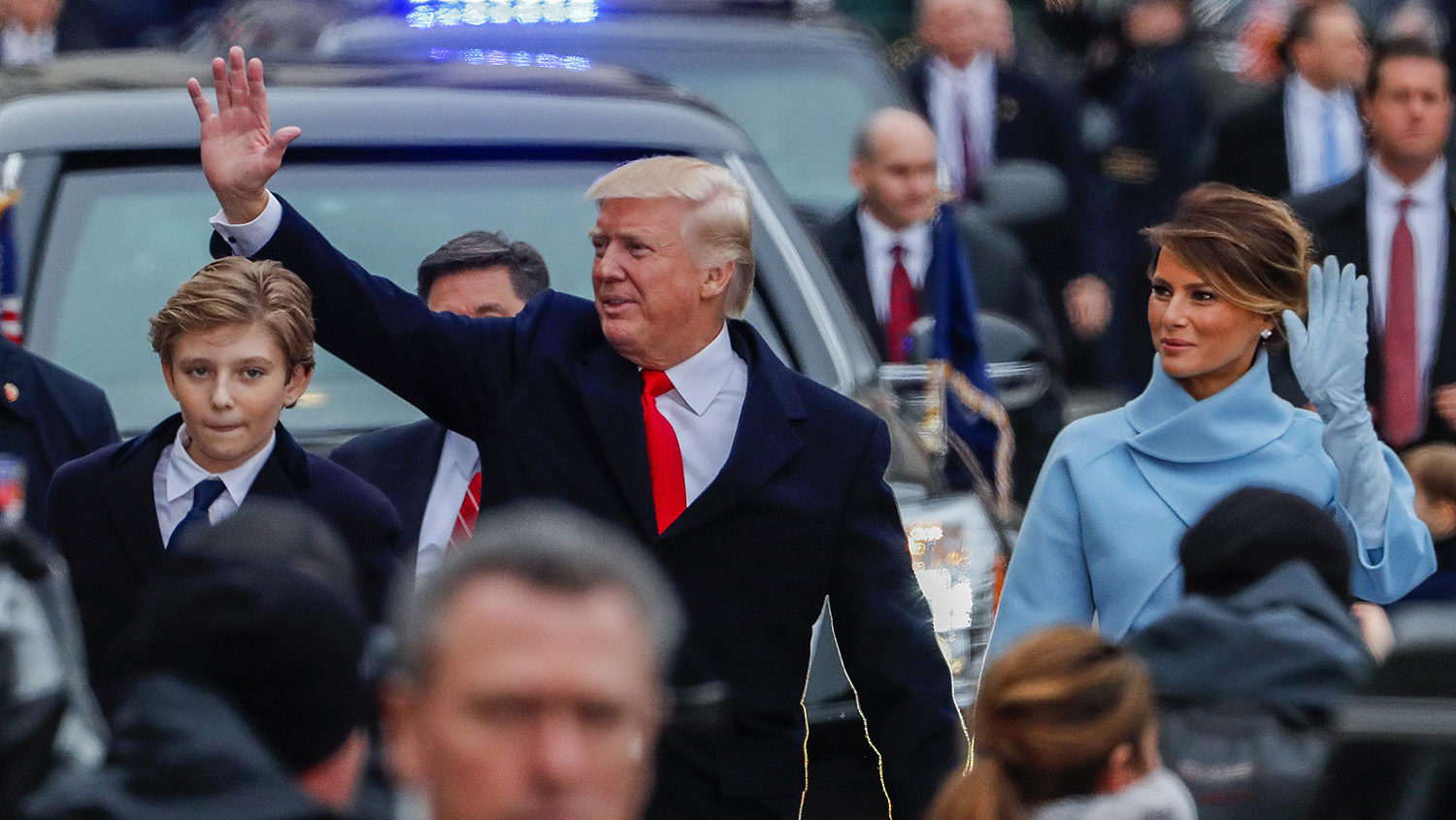Donald Trump and Melania wave