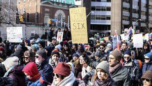 Protestors at rally against Trump