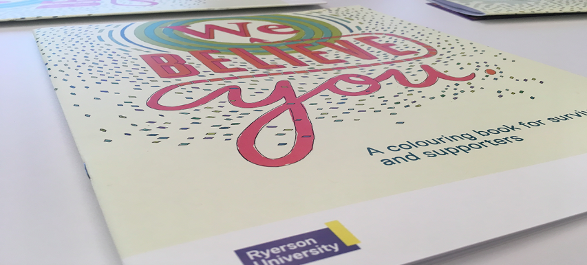 """Book cover: """"We Believe You: A colouring book for survivors and supporters"""""""