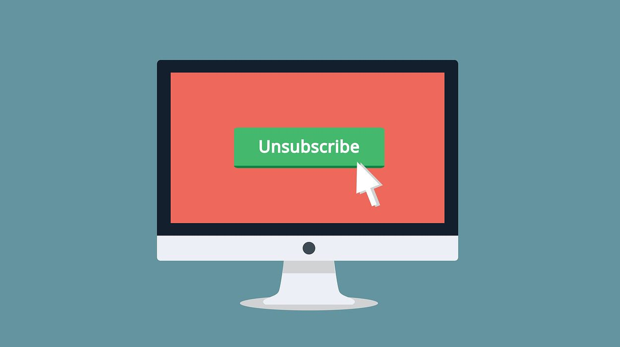 Illustration of desktop computer with unsubscribe button