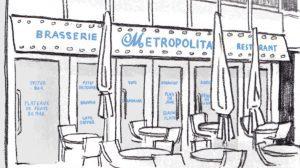 "Illustration of patio and sign ""Brasserie Metropolitan Restaurant"""
