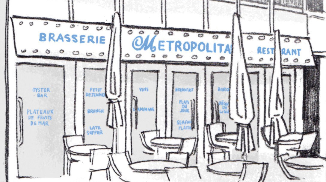"Illustration of patio and sign ""Brasserie Metropolitan Restaurant"""
