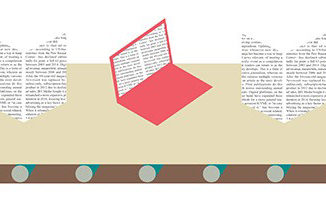 Illustration of laptop with words and books with words