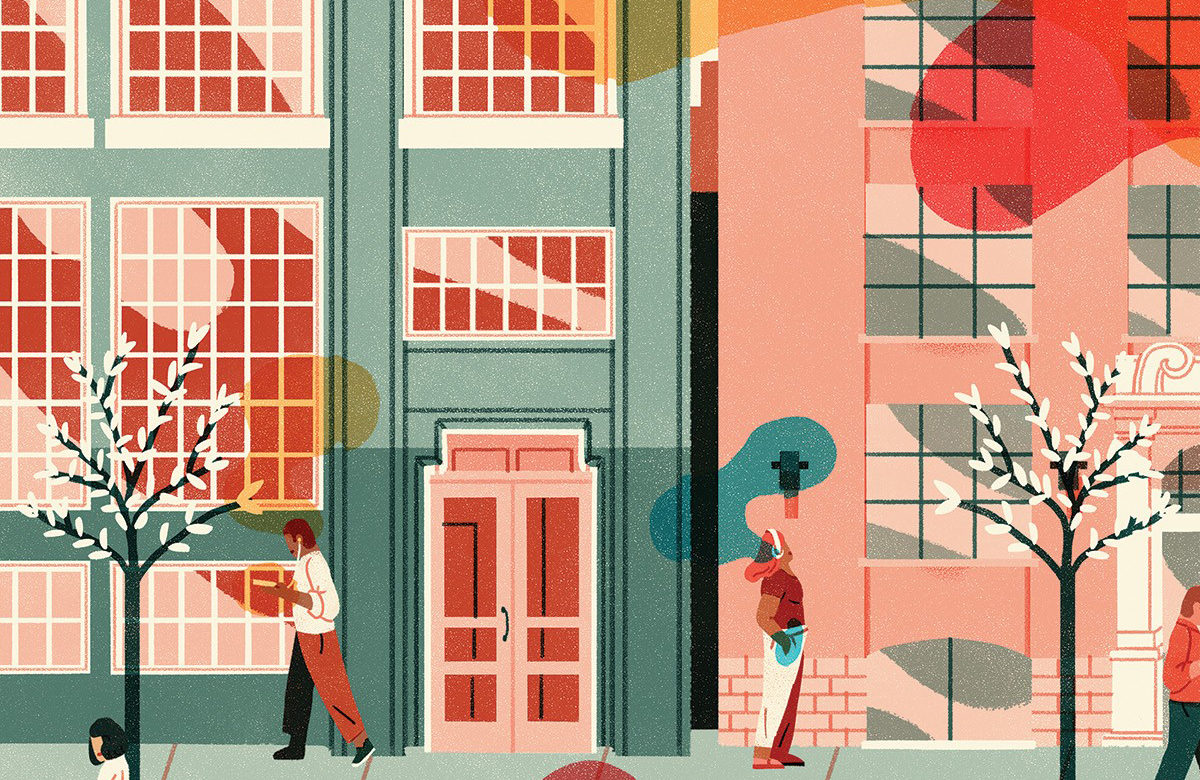 Illustration of people on a sidewalk next to buildings