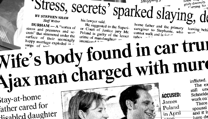 Newspaper headlines on the case of James Poland murdering wife Andrea Schneider