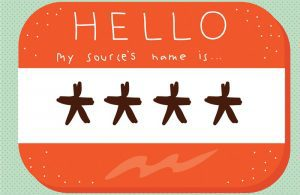 """Illustration of name-tag """"Hello my source's name is ****"""""""