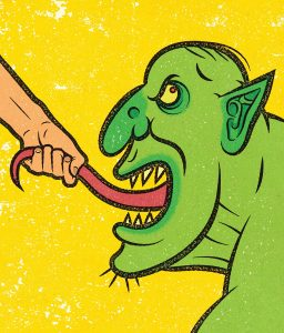 Illustration of a human hand pulling on the tongue of a green monster